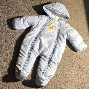 small wonders puppy hooded snowsuit blue 3-6M